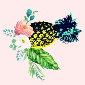 Flamingo Park  / Pineapple Floral / 4 to 1 Yard