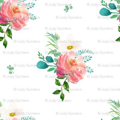 """6"""" Flamingo Park Florals - White"""