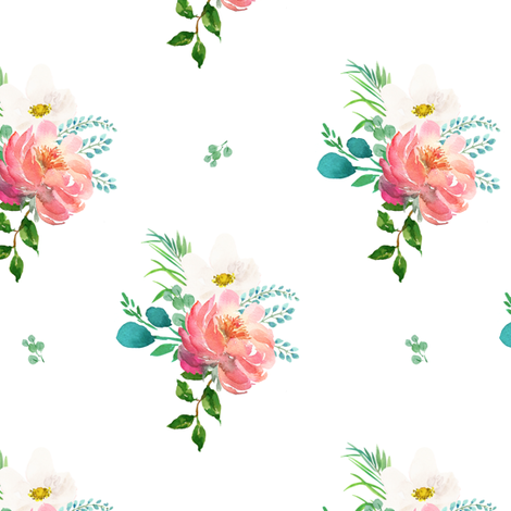 "6"" Flamingo Park Florals - White fabric by shopcabin on Spoonflower - custom fabric"