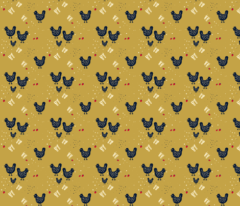 Chicken and Corn fabric by janetdrummond on Spoonflower - custom fabric