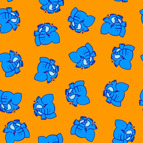Blue Cartoon Elephants by Cheerful Madness!!