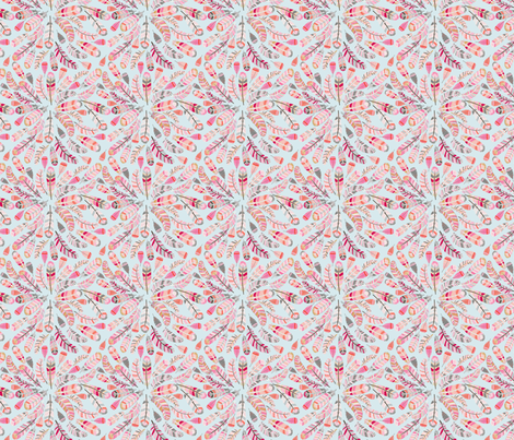 motif_plume_fond_bleu_S fabric by nadja_petremand on Spoonflower - custom fabric