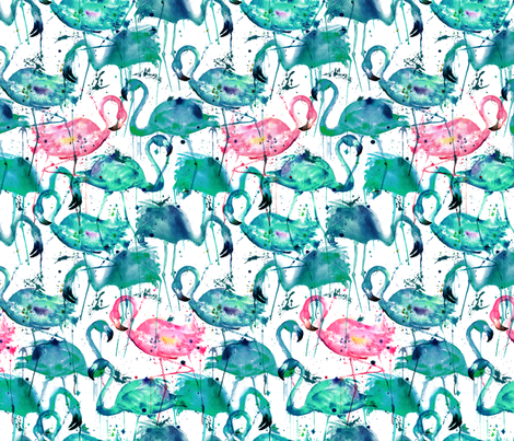 Teal Flamingo-Smaller scale fabric by karismithdesigns on Spoonflower - custom fabric