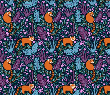 Red pandas in the bush fabric by alenkakarabanova on Spoonflower - custom fabric
