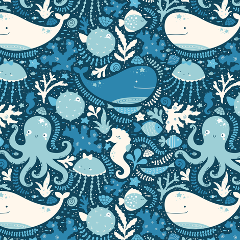 Underwater party fabric by innamoreva on Spoonflower - custom fabric