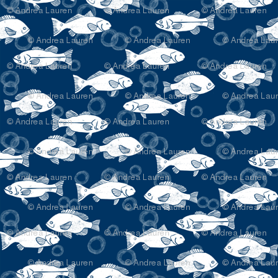 fish // navy and white summer fish fabric hand-printed block print fabric by andrea lauren