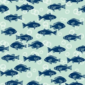 fish // navy and mint summer fabric summer fishes nautical fabric