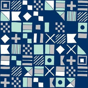 sailing flags // navy mint and grey summer fabric nautical summer design fabrics sailing design