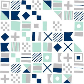 sailing flags // navy mint and grey nautical maritime fabric summer nautical design
