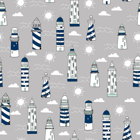 lighthouse // navy white and grey lighthouse fabric nautical summer hand-drawn maritime fabric fabric by andrea_lauren on Spoonflower - custom fabric
