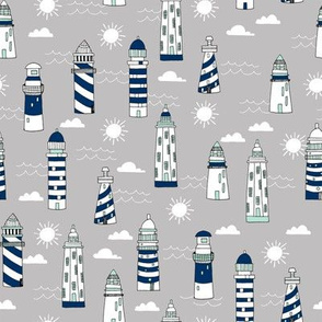 lighthouse // navy white and grey lighthouse fabric nautical summer hand-drawn maritime fabric