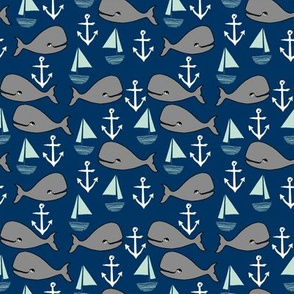 nautical whales // navy mint and grey nursery fabric whales nautical ocean summer