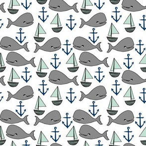 nautical whales // summer nautical nursery baby whales fabric grey navy and mint nursery design