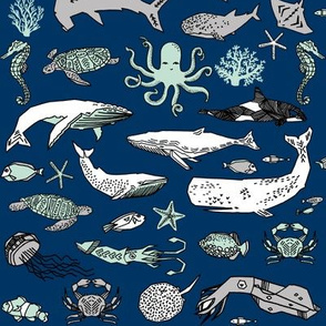 ocean animals // navy mint and grey summer nautical fabric ocean whales octopus