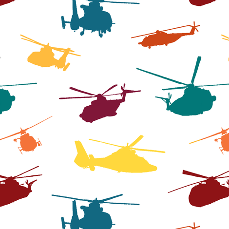 Colorful Helicopters fabric by thinlinetextiles on Spoonflower - custom fabric