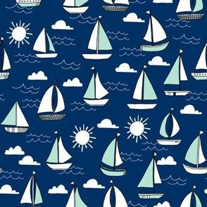 sailing // mint and navy sailing sailboat fabric