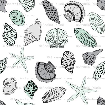 seashells // nautical summer mint and grey summer fabric summer fabric by andrea lauren