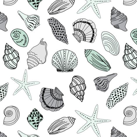 seashells // nautical summer mint and grey summer fabric summer fabric by andrea lauren fabric by andrea_lauren on Spoonflower - custom fabric