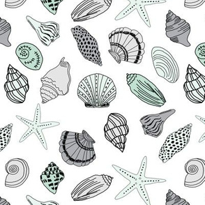 seashells // nautical summer mint and grey summer fabric summer fabric by andrea lauren