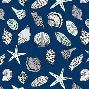 seashells // sea shells beach summer nautical fabric hand-drawn andrea lauren fabric