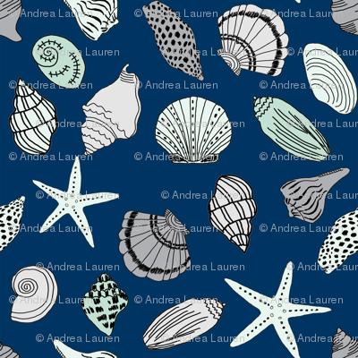 seashells // sea shells beach summer nautical fabric hand-drawn andrea lauren fabric