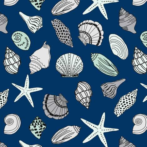 seashells // sea shells beach summer nautical fabric hand-drawn andrea lauren fabric fabric by andrea_lauren on Spoonflower - custom fabric