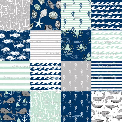 nautical cheater quilt // wholecloth navy mint and grey nautical fabric