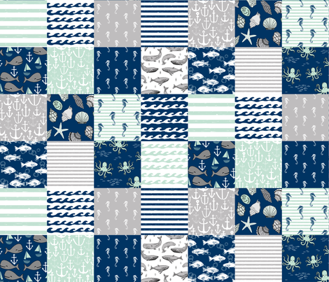 nautical cheater quilt // wholecloth navy mint and grey nautical fabric fabric by andrea_lauren on Spoonflower - custom fabric