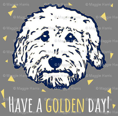 Have a 'golden day' - Goldendoodle dogs in gray
