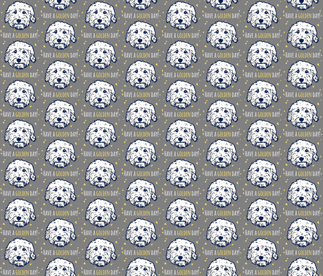 Have a 'golden day' - Goldendoodle dogs in gray fabric by cheeky~hodgepodge on Spoonflower - custom fabric