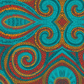 Mosaic Swirls | Red + Teal