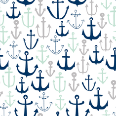 anchors // nautical summer fabric navy grey and mint fabric by andrea_lauren on Spoonflower - custom fabric