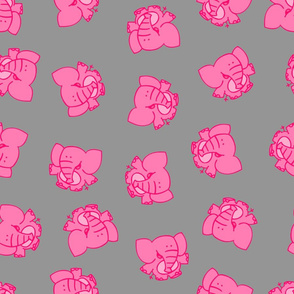 Pink Elephants on Grey by Cheerful Madness!!