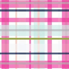 Modern Plaid Madras Bright Pink Aqua Peach Navy