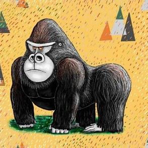 endangered mountain rainforest silverback gorilla, large scale, yellow black green