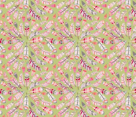motif_plume_fond_vert_M fabric by nadja_petremand on Spoonflower - custom fabric