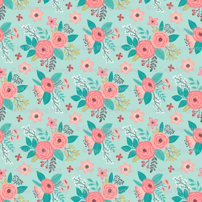 Vintage Antique Floral Flowers on Mint Green Tiny Small