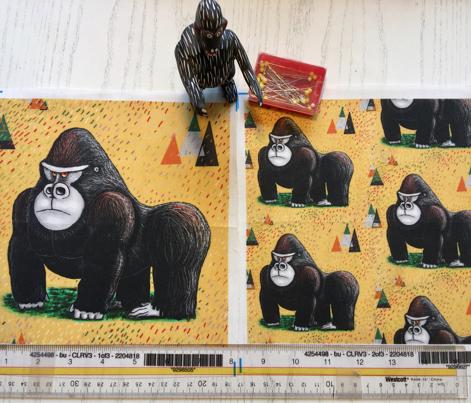 endangered mountain rainforest silverback gorilla, small scale, yellow black green