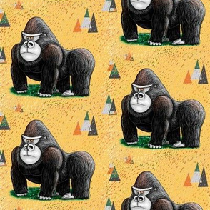 endangered mountain rainforest silverback gorilla, small scale, yellow black green