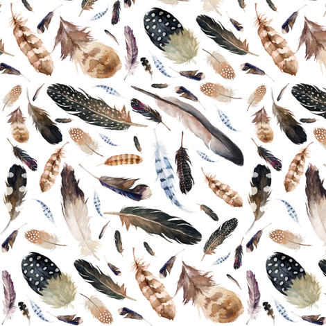 "6"" In the West Feathers fabric by shopcabin on Spoonflower - custom fabric"