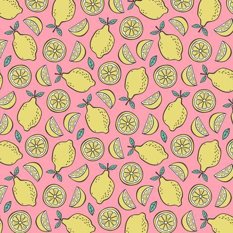 Lemon Citrus on Pink  Smaller fabric by caja_design on Spoonflower - custom fabric