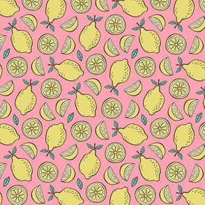 Lemon Citrus on Pink  Smaller