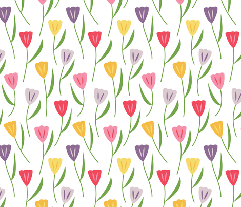 Tulips Multicolored (Spring) fabric by brendazapotosky on Spoonflower - custom fabric
