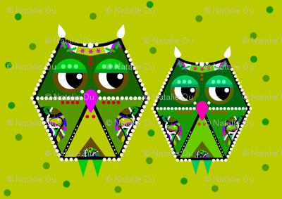 green owls