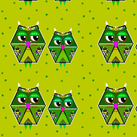 green owls fabric by natalie_du on Spoonflower - custom fabric