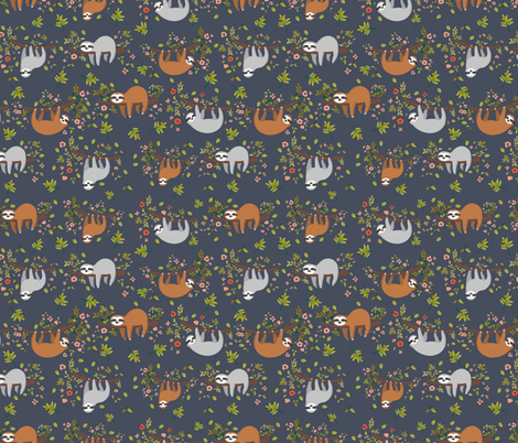 Jungle Animals : SLOTHS! fabric by sovendebjorn on Spoonflower - custom fabric