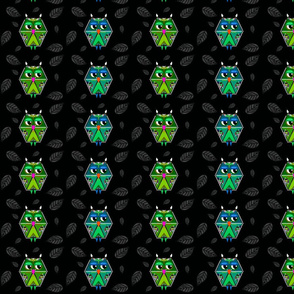 blue and green owls on black