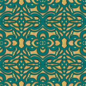 Project 258 | Teal Green Filigree on Rust Orange and Gold