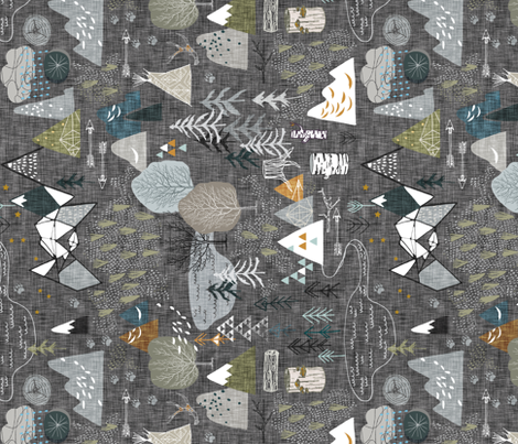 Max's Map (charcoal) RAILROAD fabric by nouveau_bohemian on Spoonflower - custom fabric