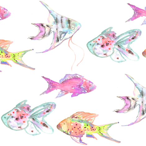 the fish on the reef watercolor fabric by erinanne on Spoonflower - custom fabric